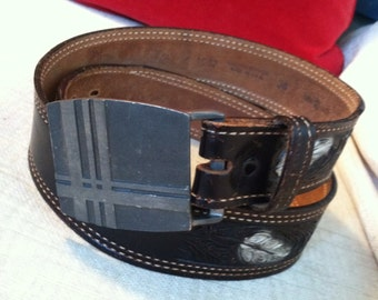 The MOD Western Vintage Pewter Buckle and Tooled Leather Belt L