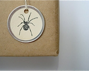 Halloween Spiders - Round Metal Edge Hang Tags - Vintage Style - Tea Stained Handmade