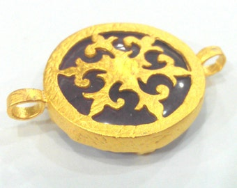 28 mm  Purple Pendant  Connectors , Gold Plated Brass Bezel  G1578