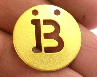 20mm   Letter B  Pendant , Gold Plated Brass G2331