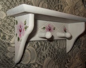 Shabby Cottage Chic Hand Painted Victorian Pink Rose Wooden Accent Shelf