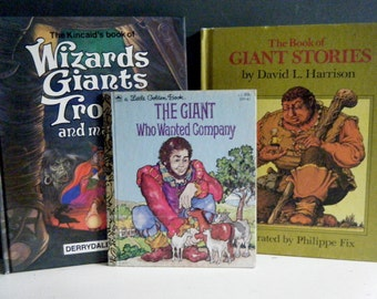 Set of 3 Childrens Books, Trolls, Giants and Wizards, Books for Boys, Vintage Little Golden Book, Derrydale and Weekly Reader Books