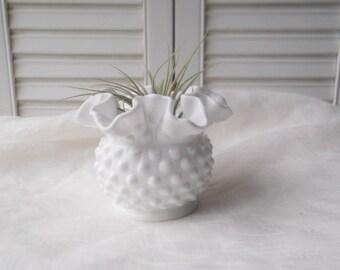 Vintage Milk Glass Vase Fenton Glass Hobnail Milkglass Ruffled Squat Vase Bowl Wedding Centerpiece Wedding Decor