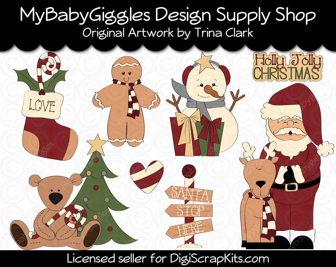 Christmas town santa holiday clip art digital graphics