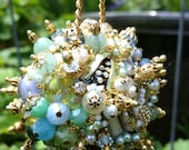 Ornament Bejeweled Pale Blue Peridot Gold Art Piece OOAK Vintage Jewelry Assemblage