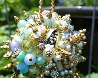 Ornament Bejeweled Pale Blue Peridot Gold Art Piece OOAK Vintage Jewelry Assemblage