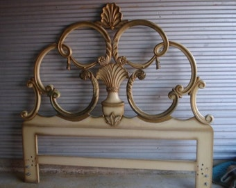 Vintage Queen Size French Headboard w Carved Shell Top Local Pickup Only
