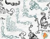Elegant Swirl Corner Flourishes, Ornate Frame Clip Art Images + PhotoShop Brush Silhouette, Romantic Corner ClipArt, Card Making
