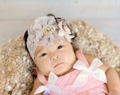 Shabby Chic Couture Newborn Headband, Baby Headband, Baptism Headband, Flowergirl Headband