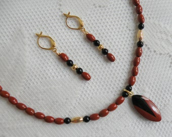 Red Jasper and Black Glass Necklace and Earring Set