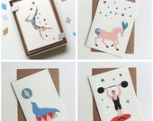 Carnival Night Greeting Cards - Horse, Srongman, Acrobat, Seal - 4 designs to choose from!