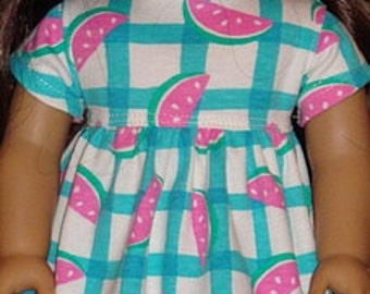 Baby Doll Style Dress In A Watermelon Plaid Print For American Girl Or Similar 18-Inch Dolls