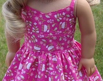 Pink Whimsical Print Wrap-Top Sundress For American Girl Or Similar 18-Inch Dolls
