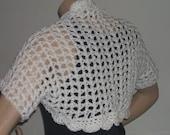 La Bonita Crochet Spring Summer Shrug in Off White