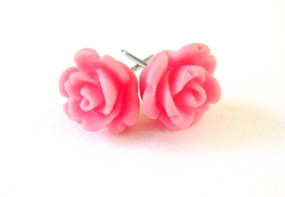 Mini Pink Panther Pink Rose Earrings- Rose Studs- Surgical Steel Post Earrings- Matte Finish- 9mm