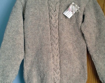 Hand Knitted Womens  Long Sleeved Crew Neck Boyfriend Classic Pullover