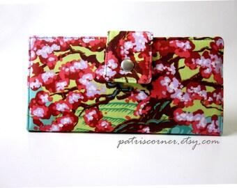 Handmade women bi fold wallet clutch - Cameo spring beauty - Scarlet Cherry Blossom Trees - Custom wallet
