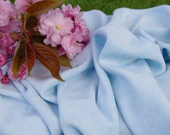 Organic Cotton Velour Fabric,  Baby Blue, OCV, great for cloth diapers and cloth pads - select half yard, 1, 3, 4, 7 yards