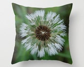 Green and White Dandelion Seeds Pillow Cover, Handmade Floral Cushion Case, Decorative Flower Photo, Rustic Bedroom, Mother's Day Gift