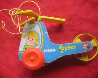 Fisher Price, Wood, Helicopter,Pull Toy, Vintage Toy, 70s