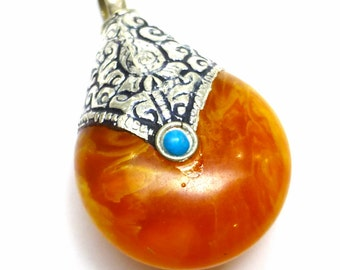 Amber Color Pendant Tibetan Bali Sterling Silver Focal Bead Drop Facet Birthday Gift One of a Kind Handmade Jewelry Stone Stringing