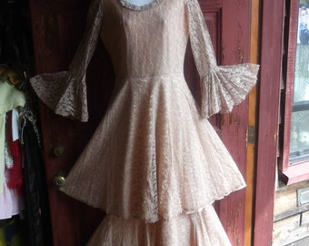 1960s Tan Lace Tiered Gown, smll