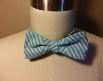 Self Tie Blue Diagonal Striped Bow Tie