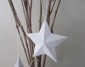 Handmade Paper 3D Ornament Star - White 3D Star Hang Tags - Recycled Home Decoration