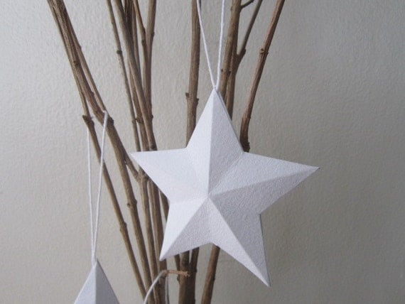 Handmade paper 3d ornament star white 3d star hang tags - Etoile papier lumineuse ...