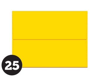 A2 Yellow Envelopes for RSVP and Announcements, Photos and Note Cards, Sunny Yellow Solar Yellow, Rich Yellow, Pack of 25