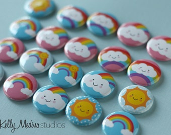 Sun and Rainbow 1 inch Magnets or Pins - Set of 20 - Designs By Kelly Medina Studios