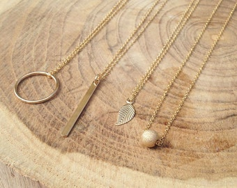 Charm Necklace, Layered Necklace, Delicate Necklace, Circle Necklace, Bar Necklace, Leaf Necklace, 14k Gold Filled, Simple Gold Necklace