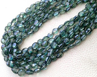 Full 10  Inch Long Strand Mystic GREEN Quartz Faceted Oval Shaped Briolettes, 10-11mm size, Fine Quality,Great Price Item