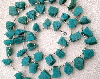 Brand New, Amazing Natural AMAZONITE Hammered Rock Tip Drilled Nuggets, 10-12mm,Full 8 Inch Strand,Amazing Rare Item