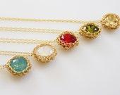 Red Swarovski Necklace, Red Swarovski Crystal Pendant, Bridesmaid Necklace, Red Gold Necklace, Red Crystal Necklace, Red Swarovski Pendant