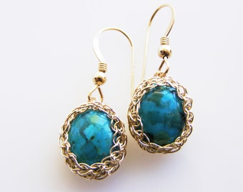 Turquoise  Bridesmaid Jewelry, Turquoise Dangle earrings, Turquoise Bridal Jewelry, Turquoise Gold Earrings, Wire Crochet Earrings