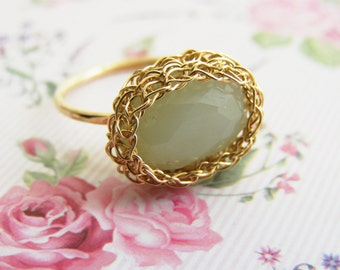 Green Jade Ring, Stacking Ring, Mint Green Ring, Jade Gold Ring, Oval Jade Ring, Green Gemstone Ring, Wire Crochet Ring
