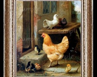 Chickens Miniature Dollhouse Art Picture 1879