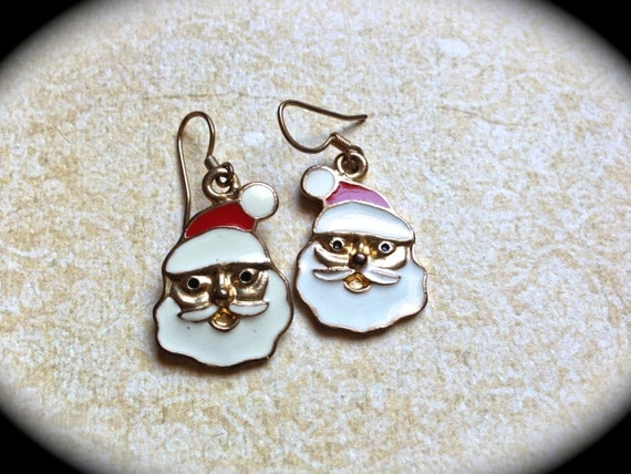 Santa Claus Earrings, Christmas Earrings, Holiday Jewelry, Gift for Her, CIJ