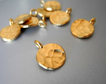 24k Gold Vermeil Hammered Disc Charm 10mm 2 Pieces Pair