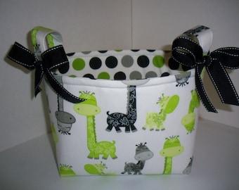 Black Grey Lime Green Giraffe Polka Dots Organizer bin / Fabric Basket / Small Diaper Caddy