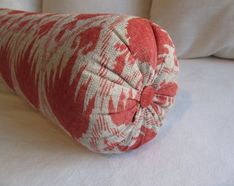 DAYBED  SIZE---Coral ikat Bolster round pillow 8x30  super long bolster