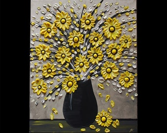 "8"" x 10"" Fine Art Giclee Print of Original Painting The Yellow Bouquet Amber Elizabeth Lamoreaux Impasto Yellow Flowers Sunflowers Vase Art"