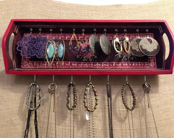 Upcycled Jewelry Holder Organizing Display (red tray)