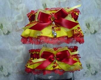 University of Southern California Trojans Yellow on Red Wedding Garter Set
