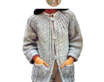 Sunray Yoke Big Button Cardigan Sweater Jacket to Knit for Women - Instant Download PDF - PrettyPatternsPlease