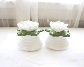 Vintage Salt and Pepper Shakers Bone China Aynsley Small White Flowers English from AllieEtCie
