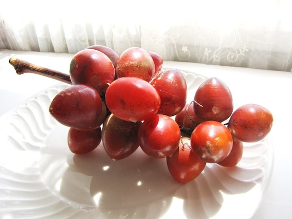 Red Alabaster Stone : Vintage italian alabaster stone hand carved red grapes mid