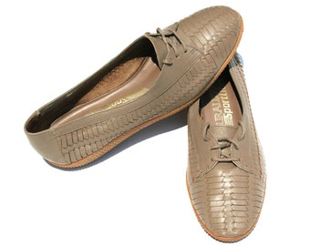 Vintage Naturalizer Sportlites Dark Taupe/Brown Leather Weave Lace Up Casual Shoes Sz 6 1/2
