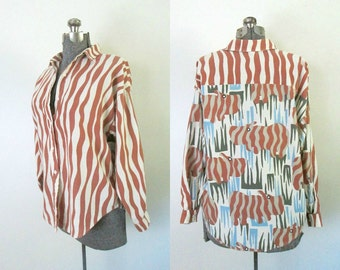 Vintage Rhinoceros Print Striped Blouse / 1980s Candies Oversized Button Front Shirt